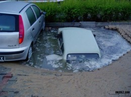 Parking place with water
