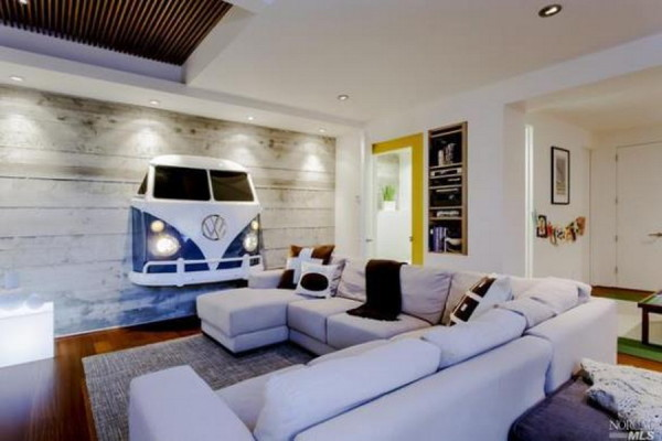 VW T1 front on wall